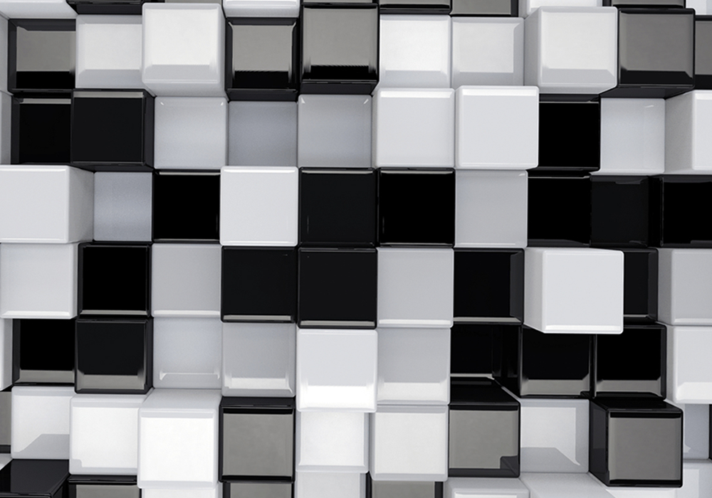 3-D Cubes - Black / White